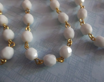 Bead Chain Opaque Chalk White 6mm Fire Polished Glass Beads on Gold Beaded Chain - Qty 18 inch strand