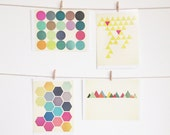 Art Postcard Set, Geometric Patterns, Affordable Art, Modern Stationery, Gift Ideas - Geometric