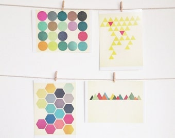 Art Postcard Set, Geometric Patterns, Affordable Art, Modern Stationery, Gift Ideas - Geometric