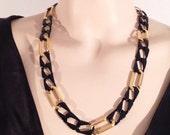 vintage napier necklace / napier jewelry / bold gold / 80s chain