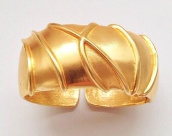 bold gold / brushed gold cuff / signed Ginnie Johansen GJD cuff / vintage jewelry