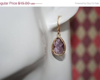 ON SALE Lavender Glass Teardrop Earrings