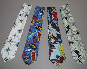 Novelty Neck Tie Necktie Skull Crossbones Super Hero Money Cotton Blend Mens Dressy Casual Sporty Fashion Apparel Wedding Father Gift 04