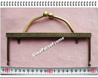 19cm (7.5inch) Handle metal bag purse frame with sewing-holes (color antique brass)-1piece