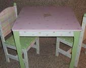 Custom  Table and Chair set for Girls Pink Green Roses  Kids Furniture Kids and Baby Desk