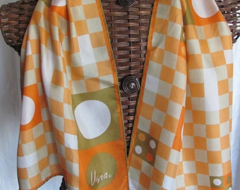 Vera Neumann Orange White Silk Scarf - 15 x 44 Long