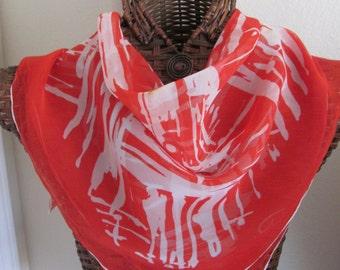 Beautiful Red White Burmel Chiffon Silk Scarf - 28 x 28 Square