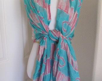 SALE!! Beautiful Turquoise Pink Silk Shawl Wrap or Scarf - 34 x 88 Long