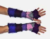 Upcycled Fingerless Gloves Black Purple Blue Armwarmers Recycled Wrist warmers Stripe Gloves Knit Gloves Fingerless Mittens