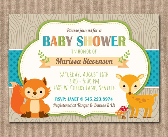 similar to woodland baby shower invitation fox baby shower on etsy