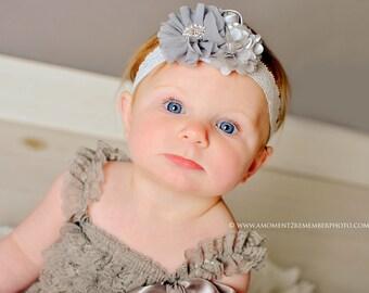 Grey Newborn headband, baby headband, girl headband, newborn photography prop, vintage headband FREE SHIPPING