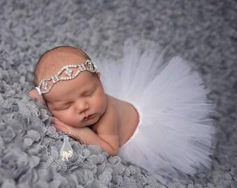 White Newborn Tutu, Tutu and rhinestone headband, newborn photography prop, baby tutu, newborn tutu