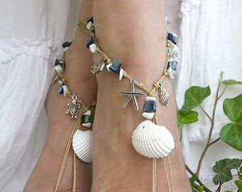 Barefoot sandals with sea charms and mother of pearl beads, woman sandal barefoot, toe ring barefoot sandal,  foot jewelry, hippie shoe