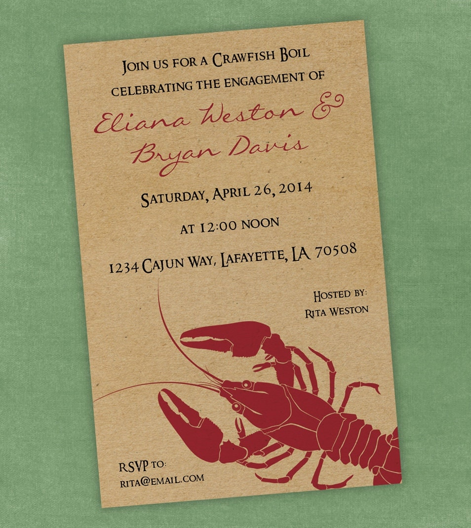 This is a picture of Adaptable Crawfish Boil Invitations Free Printable