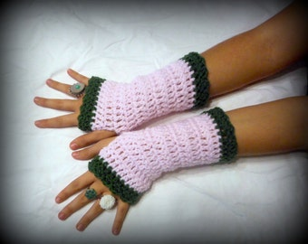 Arm Warmers crochet Fingerless Gloves  Primrose Pale Pink Olive green Handmade mid length Texting Burlesque Victorian Garden Midi Gloves.