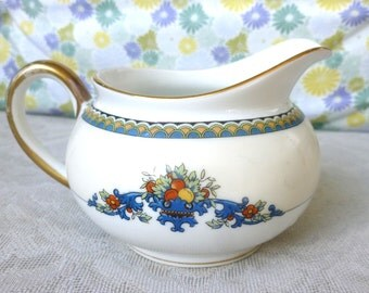 Beautiful Vintage Noritake Pitcher Sorrento Pattern with Fruits and flowers 1940s Gold Trim
