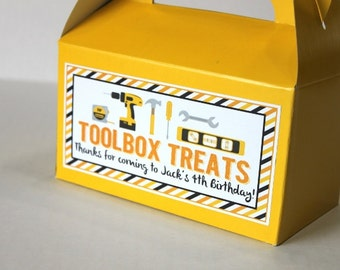 Construction birthday party tool box favor box treats, construction birthday party, dump truck birthday, baby shower, dig in birthday party