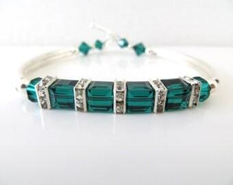 Emerald Green Bracelet, Swarovski Birthstone Bracelet, Nana Birthstone Bracelet, Custom Bracelet, Mother Day Gift, HolidayFree Shipping