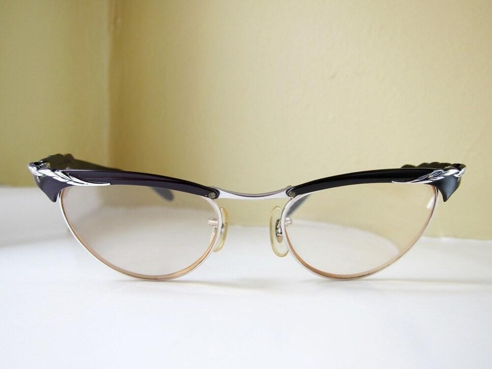 25ff7d123d2 Vintage 50 s Aluminum Cat Eye Eyeglasses Black with Silver 12k gold filled
