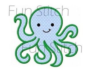 Octopus applique machine embroidery design