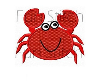 crab applique machine embroidery design instant download