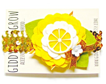 Felt Flower Headband, Lemon Sequin Baby Bow, Flower Crown, Giddyupandgrow