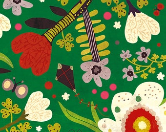 SUMMER, summer, summer... - art print // colorful flower illustration // garden green red butterfly