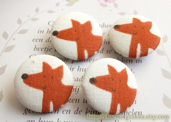 Fabric Covered Buttons (L) - Cute Forest Woods Red Fox (4Pcs, 0.98 Inch)