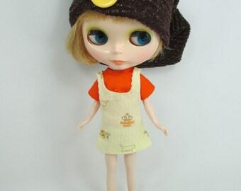 Blythe Outfit Handmade clothing set orange T-shirt bib skirt and hat 002 G-8