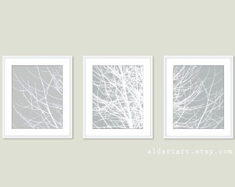 Modern Winter Tree Branches Art Prints - Tree Wall Art - Set of 3 - Grey and White Wall Art - Contemporary Woodland Decor - Tree Triptych