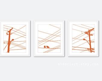 City Birds Art Prints Birds on Wire Prints - Pumpkin Orange - Modern Wall Art -  Home Decor -