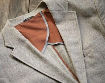 Light Grey beige FERAUD Mens Wool Jacket size L