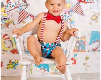Baby/Child Bow tie/Suspender/Diaper Cover set- Dr. Seuss Cat and the Hat-Birthday