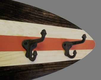 Wood Surfboard Coat Rack with Schoolhouse Hooks