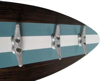 Surfboard Coatrack with Boat Cleats in Dusty Turquoise, Dark Stain and White