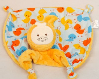 Yellow Duck Minky Security Blanket, Baby Lovey Blanket, Soft Baby Toy, Stuffed Animal, Baby Blanket Urban Zoologie Chicks