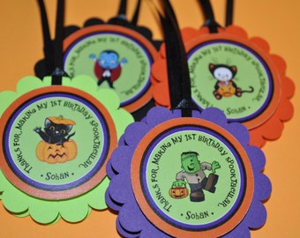Halloween Birthday Favor Tags - Halloween Birthday Decorations - Halloween Party Favor Tags - Set of 12
