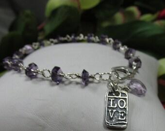 Amethyst Love Bracelet in Sterling Silver