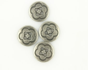 Metal Buttons - Simple Flower Metal Buttons , Nickel Silver Color , Hole , 0.51 inch , 10 pcs