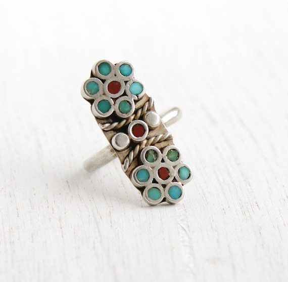 SALE- Vintage Sterling Silver Flower Ring- Size 5 1/2 Statement Turquoise & Coral Retro Native American Jewelry
