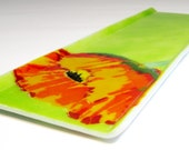 Handmade Fused Glass Appetizer Tray with Poppy Design