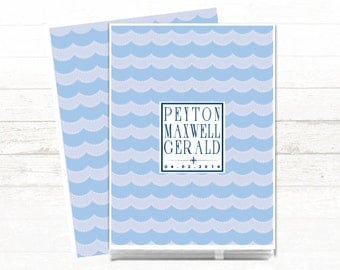 Baby Memory Book // Modern Baby Book // Personalized // Baby Book // Personalized Baby Book // Waves // Blue // Nautical