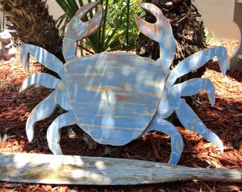 Crab Lover, Crab Decor, Large Crab, Coastal Gift, Coastal Living Room, Coastal Wall Art, Wall Art, Wood Crab, Nautical Decor, Beach Art