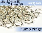 18g 5.0mm ID 7.0mm OD sterling silver jump rings -- jumprings 18g5.00 925 jewelry supplies findings links