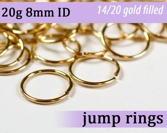 20g 8.0mm ID gold filled jump rings -- 20g8.00 goldfill jumprings 14k goldfilled