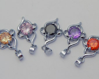 Jewelry Pendants - Assorted Colors Zircon Stones on Silver Brass Findings with Bail, 27mm, 5 Pieces