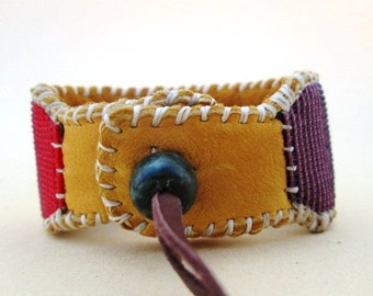 Add Tanned Deer Hide and Jade Closing Clasp to Your Beaded Bracelet