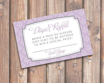 Elegant Lavender Diaper Raffle Cards Baby Girl Twin Girls Purple and Gray Baby Shower Diaper Raffle Tickets Florence - INSTANT DOWNLOAD