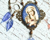 Our Lady of Sorrows with Filigree and Blue Glass Beads