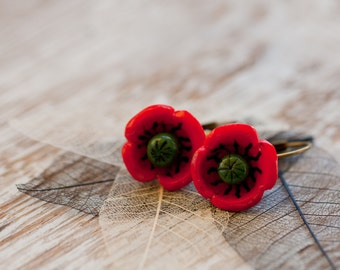 Earrings - Poppy Flowers